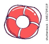 Life Buoy Red Color Hand Drawn...
