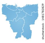 outline blue map of jakarta | Shutterstock .eps vector #1481782829