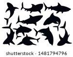 black silhouette set of shark... | Shutterstock .eps vector #1481794796