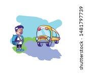 little student boy with bag... | Shutterstock .eps vector #1481797739
