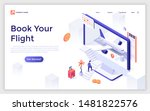 landing page template with man... | Shutterstock .eps vector #1481822576