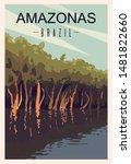 Amazonas River Retro Poster....