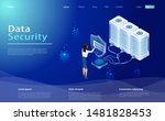 data protection concept. secure ... | Shutterstock .eps vector #1481828453