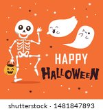 happy halloween with funny... | Shutterstock .eps vector #1481847893