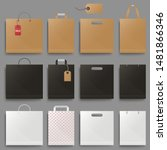 shopping bag mockup set design. ... | Shutterstock .eps vector #1481866346