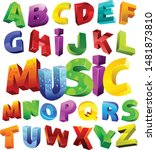 3d colorful alphabet set vector | Shutterstock .eps vector #1481873810