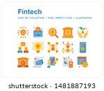 fintech icons set. ui pixel...