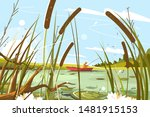 fisherman fishing in pond... | Shutterstock .eps vector #1481915153
