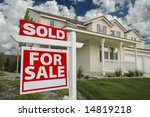 sold home for sale sign in... | Shutterstock . vector #14819218