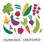 vegetables flat vector... | Shutterstock .eps vector #1481933933