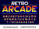 retro arcade alphabet font. 3d... | Shutterstock .eps vector #1481945453