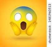 emoji face screaming in fear... | Shutterstock .eps vector #1481960513
