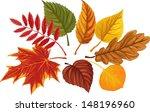 Set Of Autumn Leaves Over White ...