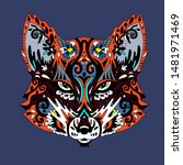 wild beautiful fox head hand... | Shutterstock . vector #1481971469