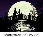 Couple On Bridge. Night...