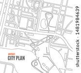 black thin line city map card... | Shutterstock .eps vector #1481984639