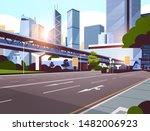 highway road to city skyline... | Shutterstock .eps vector #1482006923