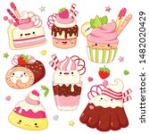 Set Of Cute Sweet Icons In...