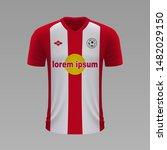 realistic soccer shirt red bull ... | Shutterstock .eps vector #1482029150
