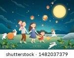 cute mid autumn festival poster ... | Shutterstock .eps vector #1482037379