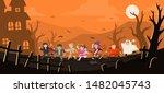 happy halloween. children... | Shutterstock .eps vector #1482045743