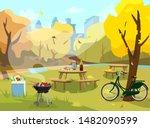 vector illustration of autumn...   Shutterstock .eps vector #1482090599