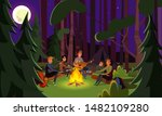 Friends summer camping flat vector illustration. Tourists tents in forest campsite area. Students cartoon characters expedition, backpacking vacation. Active tourism, hiking, holiday on nature