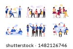discussion and brainstorming in ... | Shutterstock .eps vector #1482126746