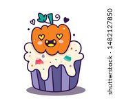 cute halloween vector cupcake... | Shutterstock .eps vector #1482127850