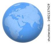 qatar on the globe. earth...   Shutterstock .eps vector #1482137429