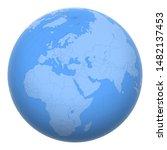 palestine on the globe. earth...   Shutterstock .eps vector #1482137453