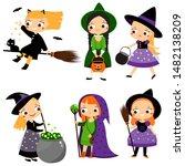 cute witch set. cartoon girls... | Shutterstock .eps vector #1482138209