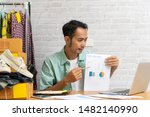 asian man hand pointing at... | Shutterstock . vector #1482140990