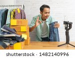 asian man showing okay and... | Shutterstock . vector #1482140996