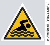 yellow warning swimming  sign... | Shutterstock . vector #1482152849