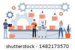 people working at the... | Shutterstock .eps vector #1482173570