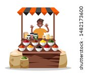 man selling food spice. asian... | Shutterstock .eps vector #1482173600