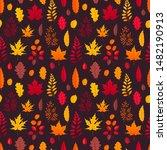 flying autumn leaves on black... | Shutterstock .eps vector #1482190913