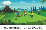 scary cartoon people run ... | Shutterstock .eps vector #1482191750
