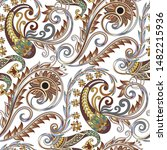 seamless  pattern with  paisley ... | Shutterstock .eps vector #1482215936
