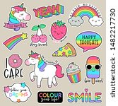 set of fashion patches  cute... | Shutterstock .eps vector #1482217730