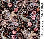 seamless pattern with  paisley  ... | Shutterstock .eps vector #1482224873