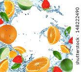 fresh fruits with water... | Shutterstock . vector #148222490