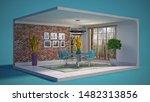 interior dining area. 3d...   Shutterstock . vector #1482313856