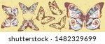 beautiful color butterflies set ... | Shutterstock . vector #1482329699