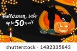 halloween sale  horizontal dark ... | Shutterstock .eps vector #1482335843