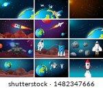 big space background scene set...   Shutterstock .eps vector #1482347666