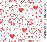 simple hearts seamless vector... | Shutterstock .eps vector #1482356816
