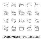 folders flat line icons set....   Shutterstock .eps vector #1482362600