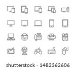 Devices Flat Line Icons Set. Pc ...